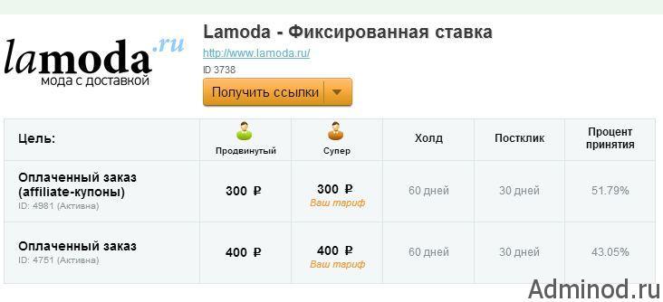 вознаграждения программы ламода